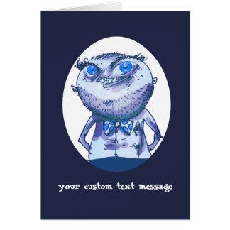 big blue eyes weird man funny cartoon card