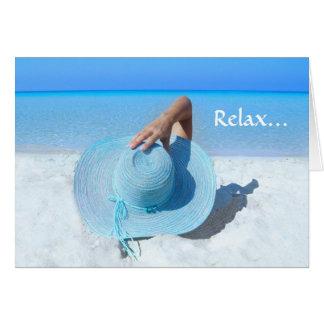 Big Blue Hat on Beach Retirement Card