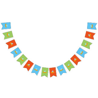 Big blue orange and green watercolor flower bunting