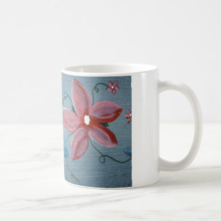 Big Blue Red Flowers Coffee Mug