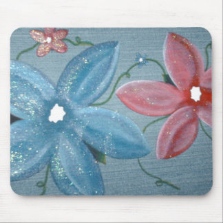 Big Blue Red Flowers Mouse Pad
