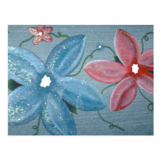 Big Blue Red Flowers Post Card