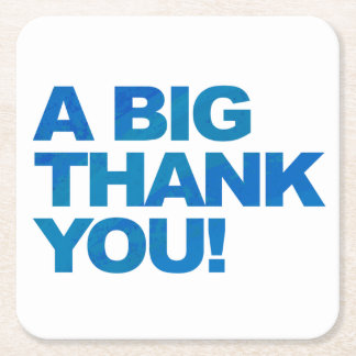 Big Blue Thank You Square Paper Coaster