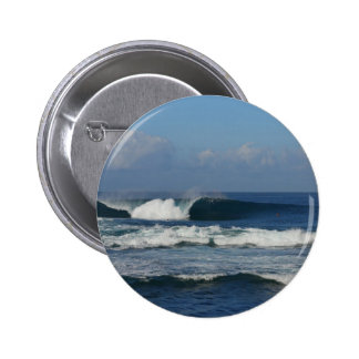 Big blue tropical reef surfing wave pinback button