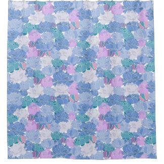 Big Blue Violet Floral Shower Curtain