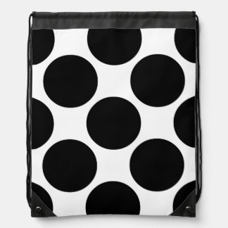 Big Bold Black and White Dots Drawstring Bag