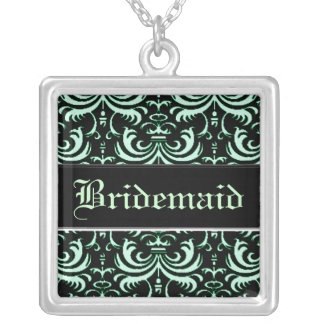 Big Bold Damask (Apple Green) (Wedding) Silver Plated Necklace