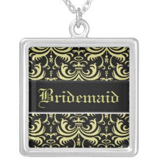 Big Bold Damask (Golden) (Monogram) Silver Plated Necklace