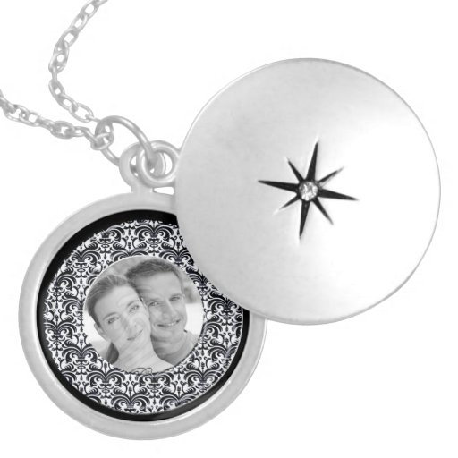 Big Bold Damask Photo Frame (Black) Necklaces