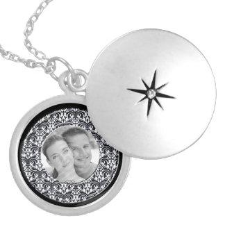Big Bold Damask Photo Frame (Black) Silver Plated Necklace