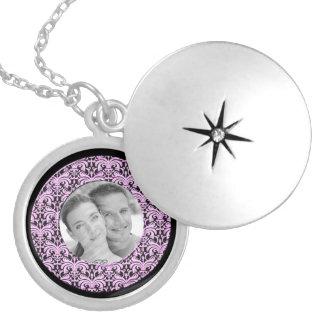Big Bold Damask Photo Frame (Pink) Round Locket Necklace
