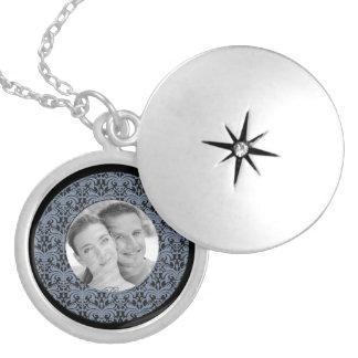 Big Bold Damask Photo Frame (Smokey Blue) Round Locket Necklace