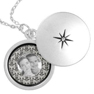 Big Bold Damask Photo Frame (White) Personalized Necklace