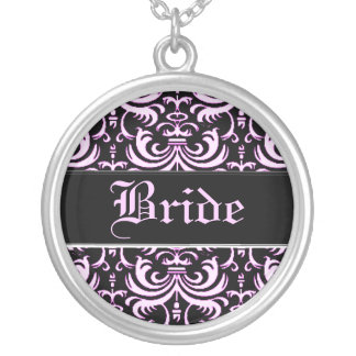 Big Bold Damask (Pink) (Wedding) Silver Plated Necklace