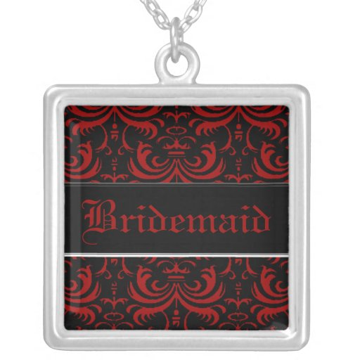 Big Bold Damask (Red) (Wedding) Personalized Necklace