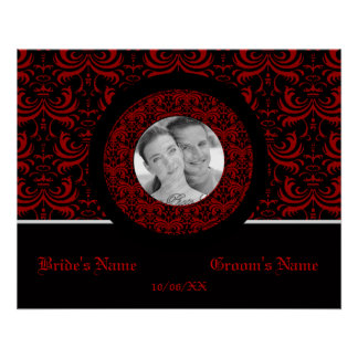 Big Bold Damask Red Wedding Poster