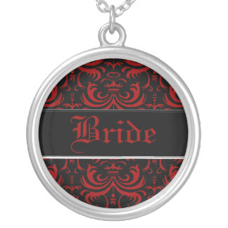 Big Bold Damask (Red) (Wedding) Silver Plated Necklace