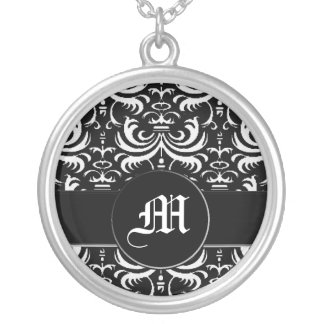 Big Bold Damask (White) Silver Plated Necklace