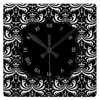 Big Bold Damask (White) Wall Clock