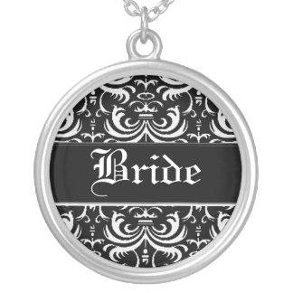 Big Bold Damask (White) (Wedding) Silver Plated Necklace
