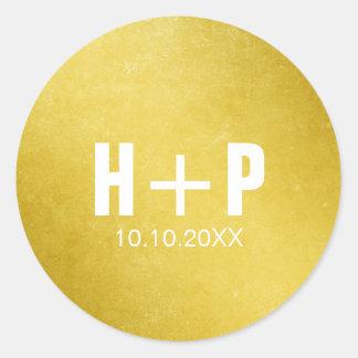 Big Bold Gold Wedding Round Sticker