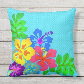 Big Bold Hawaiian Flowers Aqua Outdoor Outdoor Cushion