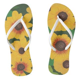 Big Bold Painted Yellow Sunflowers Green FlipFlops Thongs