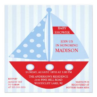 Big Bold Red Blue SAILBOAT Boy Baby Shower Custom Invitations