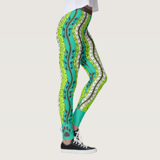 Big Bold Waves with Dog Paws Green and Brown Leggings