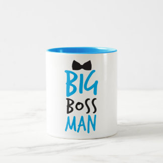 Big boss man nice Bossy design with a bow tie Two-Tone Mug