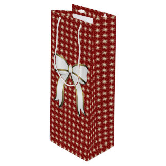 Big Bow Red Christmas Holiday Wine Bag