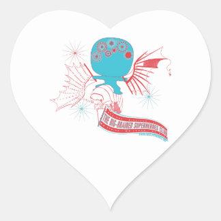 Big-Brained Superhero Da Vinci Flying Avatar Heart Sticker