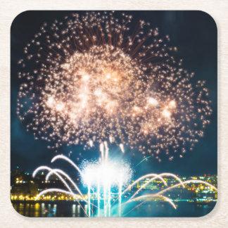 Big Bright Fireworks Square Paper Coaster