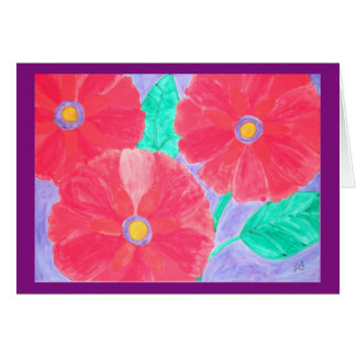 Big, bright red flowers watercolor greeting card