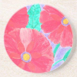 Big, bright red flowers watercolor coasters