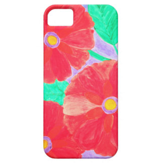 Big, bright red flowers watercolor iPhone 5 covers