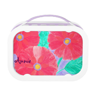 Big, bright red flowers watercolor lunchboxes