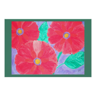 Big, bright red flowers watercolor poster