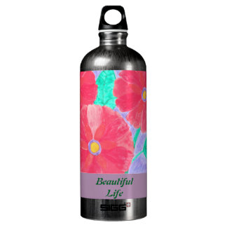 Big, bright red flowers watercolor SIGG traveller 1.0L water bottle