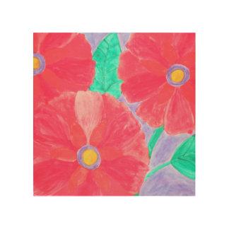 Big, bright red flowers watercolor wood canvases