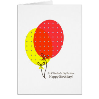 Big Brother Birthday Cards, Big Colorful Balloons Card
