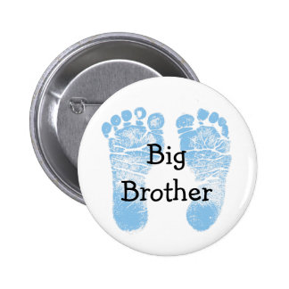 """Big Brother"" Button with cute blue footprints"