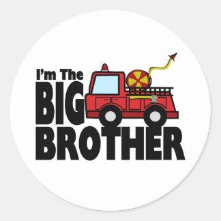 Big Brother Fire Truck Classic Round Sticker