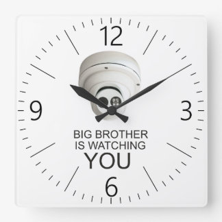 Big brother is watching you square wall clock