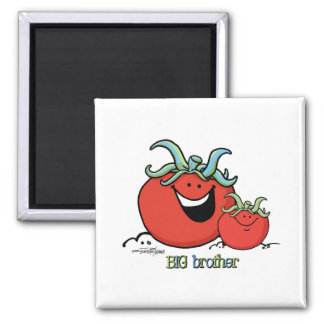 Big Brother - little sibling - Tomato Square Magnet