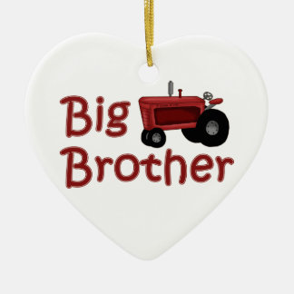 Big Brother Red Tractor Ceramic Heart Decoration