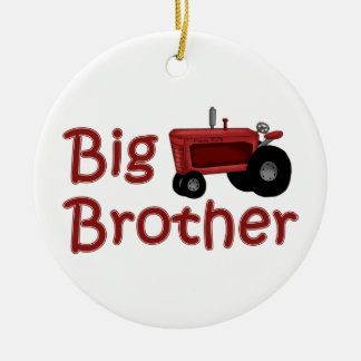 Big Brother Red Tractor Round Ceramic Decoration