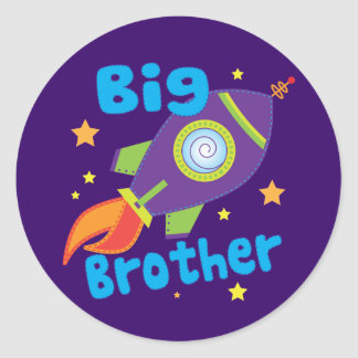Big Brother Rocket Ship Sibling Sets Classic Round Sticker