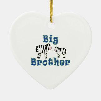 Big Brother Zebra Ceramic Heart Decoration