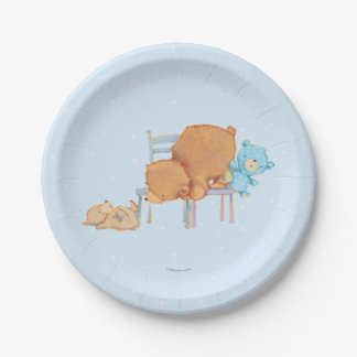 Big Brown Bear, Calico, & Floppy Share Two Chairs 7 Inch Paper Plate